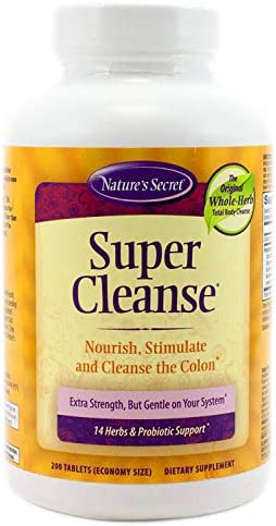 Super Cleanse by Nature s Secret Herbal and Probiotic Support, 200 Tablets Pack of 2