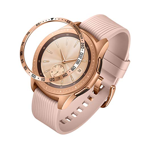Sodoop Metal Bezel Ring Compatiable for Samsung Galaxy Watch 42MM /Gear,Sport Bezel Loop Adhesive Cover Anti Scratch & Collision Protector for Galaxy Watches Accessory (Rose - Bezel Gold Plain
