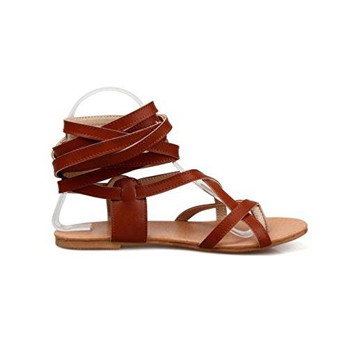 YOUJIA Damen Ausgeschnitten Kniehoch Gladiator Sandalen Flach Schnürschuhe Riemchen Sommerschuhe #2 Braun