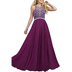 Firose Women's Scoop Neckline Beaded Long Chiffon Prom Dresses for 2017 18W Eggplant