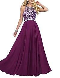 Firose Women's Scoop Neckline Beaded Long Chiffon Prom Dresses for 2017