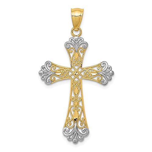(14k Yellow Gold Cross Religious Pendant Charm Necklace Fleur De Lis Fine Jewelry Gifts For Women For Her)