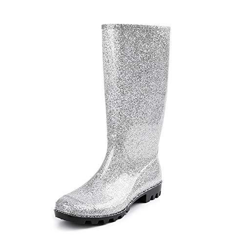 DKSUKO Womens Wellie Rain Boot Original Tall Waterproof Wellington Boots (7 B(M) US, Silver) - Original Wellie Rain Boots