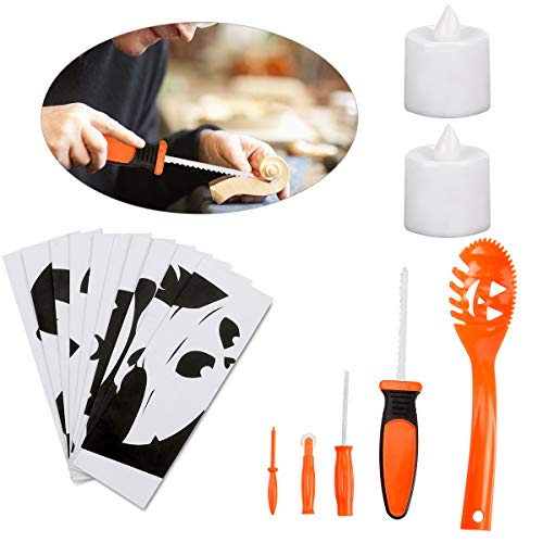 Halloween Pumpkin Carving Kit for Kids, Easy Halloween Pumpkin Carving Tools Kit – Includes 8 Carving Tools 2 LED Candles & 10 Carving Templates