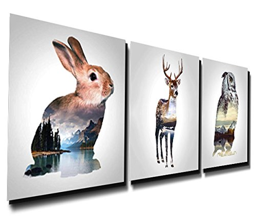 Gardenia Art - Rabbit Deer and Eagle/Owl with Thier Living Environment Canvas Prints Modern Wall Art Paintings Stretched and Framed Artwork for Room Decoration,16x16 inch Ready to Hang