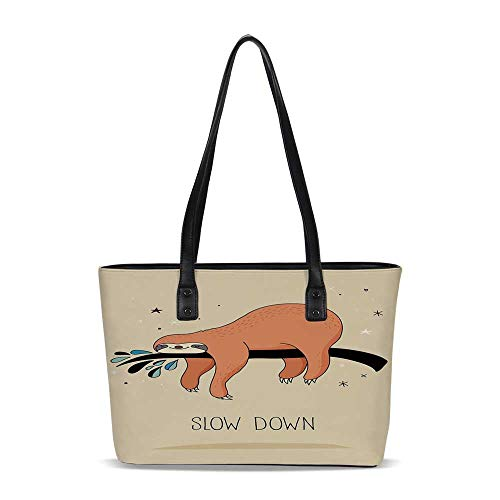 Animal Decor PU Shoulder Tote Bag,Sleeping Big Bear Sloth Hanging on a Bench Co