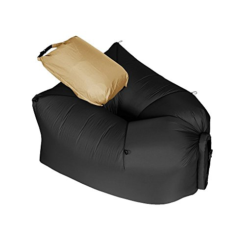 KickinIT Inflatable Air Chair Sofa or Blow up Couch or Camping Air Mattress or Pool Float (Black) - Zen Bonded Leather