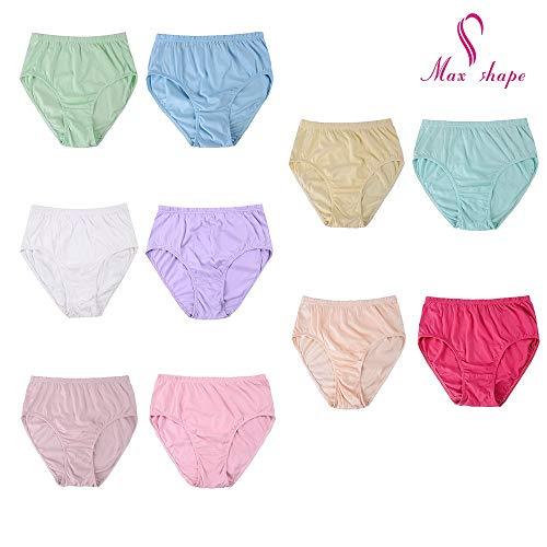 1fbe2e7d1af 6 Pack Women Cotton Panties Plus Size High Waist Bikini Underwear High Cut  Hipster Briefs Plus