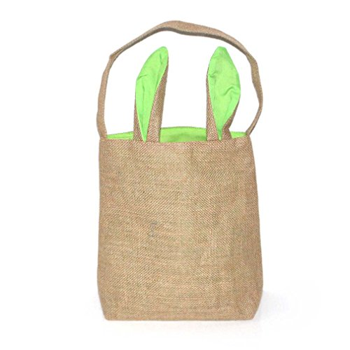 Mordoa Easter Basket Bunny Style Burlap Bags Dual Layer Eco-friendly Groceries Bags for Kids to Carry Eggs,Candy and Gifts Bags (Green) A04
