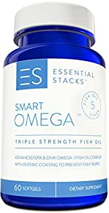 Burpless Fish Oil Omega 3 - Triple Strength (1400mg EPA DHA Per Serving), Enteric Coated, Molecularly Distilled & No Fishy Burps OR Aftertaste.