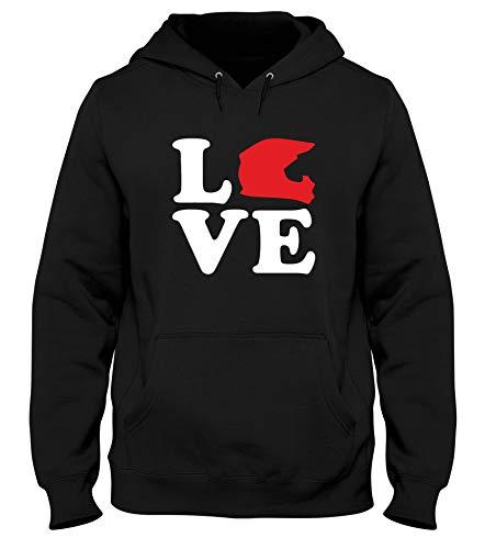 Dec0219 Nera Uomo shirtshock T Motocross Cappuccio Love Felpa wgIXvqZ