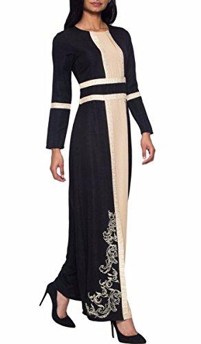 (Artizara Asiya Black Embroidered Modest Formal Evening Dress Gown for Women)