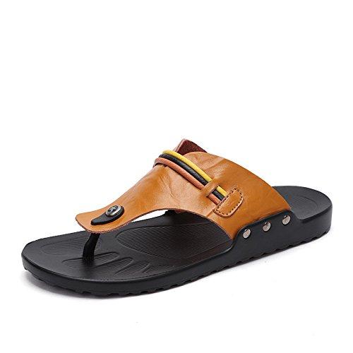 Sandali di cuoio genuini, gialli, UK = 7.5, EU = 41 1/3
