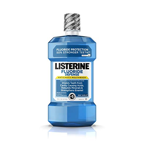 Listerine Fluoride Defense Anticavity Mouthwash, Mouth Rinse For Bad Breath, Cavity Prevention and Enamel Strengthening, Mint Flavored Oral Care, 1 L ()