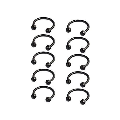 Ruifan 10PCS 16G 10mm CBR Horseshoe Circular Rings Black Titanium Anodized 316L Surgical Steel for Lip, Septum Piercing Jewelry & Cartilage 3mm Balls