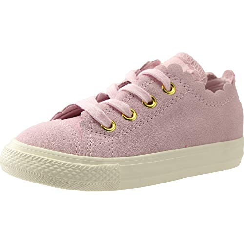 Converse Kids Baby Girl's Chuck Taylor¿ All Star¿ Scalloped Suede - Ox (Infant/Toddler) Pink Foam/Pink Foam/Brass 8 M US Toddler