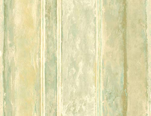 Striped Modern Wallpaper Blue Green Cream Gold Perfect Statement Wall or Accent Wall ()