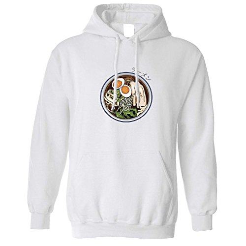 Ethnic Food Unisex Hoodie Ramen Noodles and Japanese Text White M