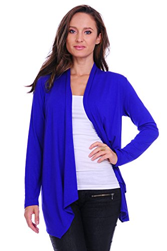 SR Women's Basic Long Sleeve Open Cardigan (Size: Small-5X), Medium, Royal