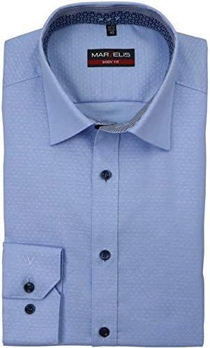 Marvelis Body Fit Camisa de manga larga New Kent cuello patrón azul claro: Amazon.es: Ropa y accesorios