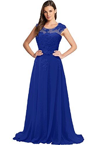 A Lang Chiffon Gorgeous Spitze Rundkragen Abendkleider Festkleider Bride Royalblau Ballkleider Tuell Linie Modisch Schleppe qIWIE1gw