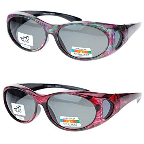 Glass Ribbon Shade - 2 Pair Polarized Fit Over Oval Sunglasses - small -Bright Red/Floral