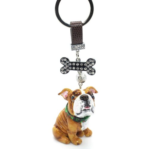 Bulldog Dog Keychain 00003 Pet Lover Gifts Collectible Art and Crafts Clay Sculpted Handmade Dog Figurine Oranament Bag Buddy Accessories for Any Occasion