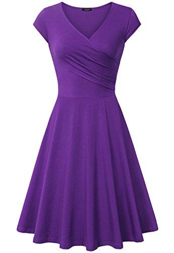 Graduation Dress,Laksmi Women's Comfy Homecoming Party Swing Dress,Large Purple