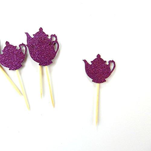 T pot Purple Cupcake Topper Color 12 Pack Cupcake Topper Decoration Cake Graduation baby shower