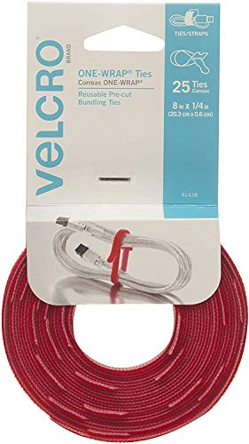 VELCRO Brand ONE-WRAP Ties | Cable Management, Wires & Cords | Self Gripping Cable Ties, Reusable | 25 Ct -  8 x 1/4 | Red