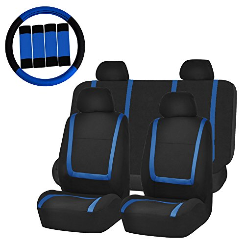 (FH Group FH-FB032114 Unique Flat Cloth Car Seat Covers with FH2033 Steering Wheel Cover and Seat Belt Pads, Blue/Black Color- Fit Most Car, Truck, Suv, or Van)