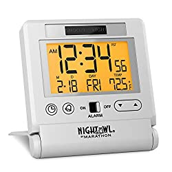 Marathon CL030036WH Atomic Travel Alarm Clock with Auto Back Light Feature, Calendar and Temperature. Folds into One Compact Unit for Travel. Batteries Included. Color-White.