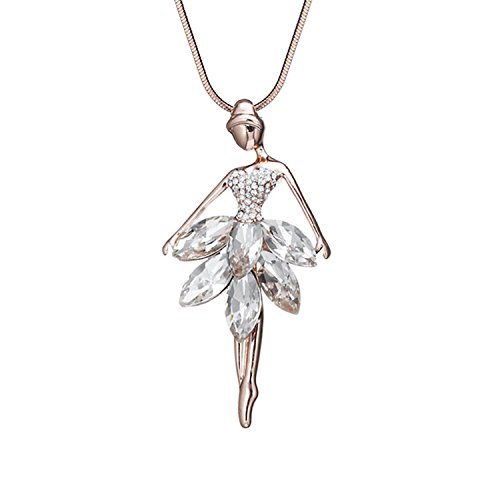 Baqijian Romanic Dancer Pendant Necklace Gold Color White Ballet Dancing Girl Collar Necklace Fairy Jewelry Xl08013 Rose With White