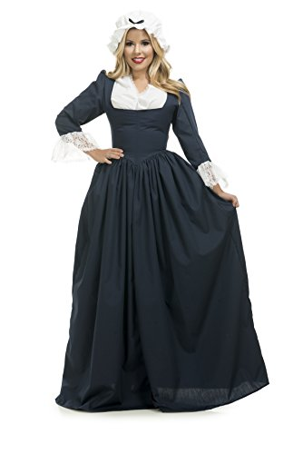 Charades Women's Colonial Woman Costume Dress, Navy,