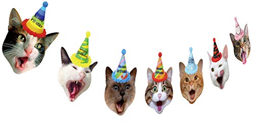 - Cat Birthday Garland, Cat Party Supplies Decorations, Kitty Face Bunting with Birthday Hat on Head