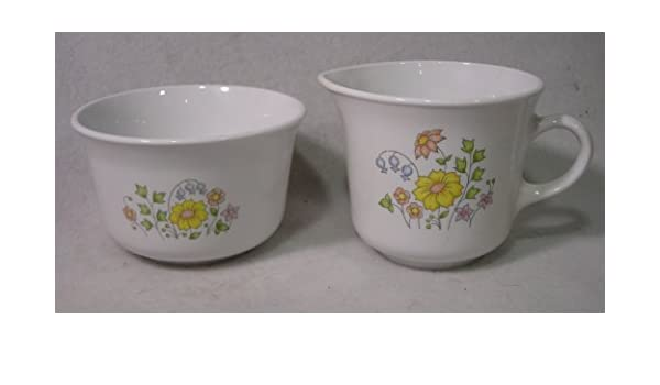Corning Spring Meadow Creamer and Sugar Set