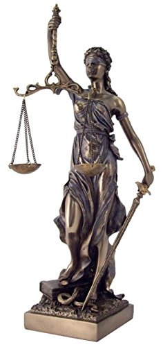 12.5 Inch Cold Cast Bronzed Lady Justice with Scales and Sword Statue