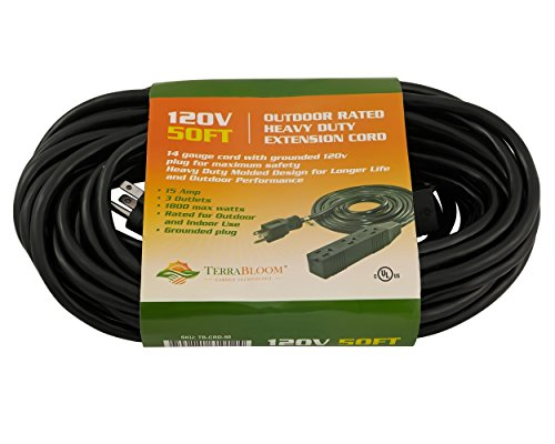 TerraBloom 50Ft 14/3 Extension Cord With Triple Outlets 120V SJTW Heavy Duty 14 AWG 50 Foot 50' Grounded Wire 1800 Watt 15 Amp Black Triple Tap For Outdoor Indoor Garden 14-3 14 3