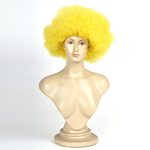[Halloween masquerade/Funny show Dress Up/Adult Clown/Explosive wig-A] (Adult Witch Mask With Hat And Hair)