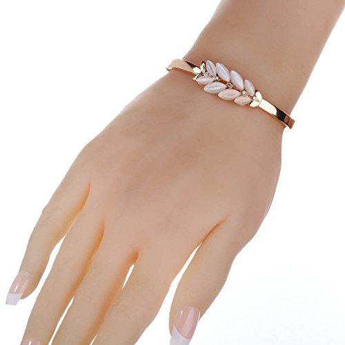YAZILIND Femmes plaqué or strass Inlay Drill Agate Feuilles Pierre Charm Bracelet Idées cadeaux