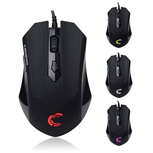 C comanro Wired Gaming Mouse, 2400 Adjustable DPI, 5-Button Ergonomic Mice with Red Sidelight for Computer, Laptop, PC - Black