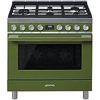 Smeg Portofino CPF36UGMOG 36x 25, 4.5 cu. ft. Oven Freestanding Pro-Style Dual Fuel Range, Olive Green