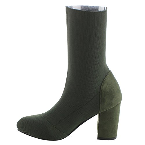 Olive Heel Breeze Stitching On Stretchy Pull Booties Women's Chunky Ankle EI95 Nature Pq6876