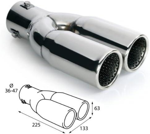 Er026 Endrohr Auspuffblende Doppelrohr 2x 225x63mm Einlassdurchmesser 36 47mm Auto