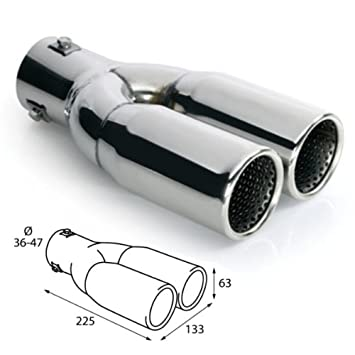 ER026 - Tubo de escape doble de acero inoxidable para atornillar, 225x63mm d=36-47mm, 1 unidad: Amazon.es: Coche y moto