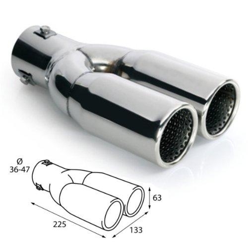 ER026 - Double embout d'échappement Sortie en acier inoxydable poli, silencieux à Garniture pour visser universel 2x 225x63mm d=36-47mm silencieux à Garniture pour visser universel 2x 225x63mm d=36-47mm akhan-tuning