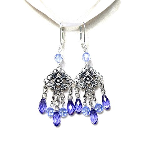 - Swarovski Tanzanite Crystal Briolettes in Vintage Look Earrings