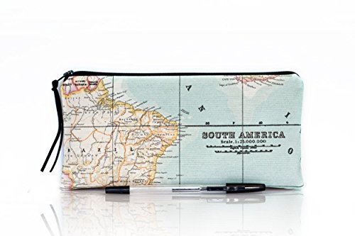 World map pencil case, Makeup bag, Teacher gift, School supplies, South America, Make Up case, Blue cosmetic case, Back to school, Map pouch by The Dutch Loft