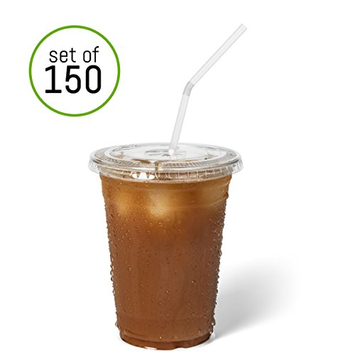 Homevative [Set of 150] 16oz Clear Disposable Plastic Cups with Lids and Straws - for Ice Coffee, Smoothies, Iced Tea, Juice, Cold Drinks (16oz) (Halloween Coffee Drink Names)
