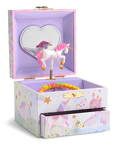 (JewelKeeper Musical Jewelry Box with Spinning Unicorn, Glitter Rainbow and Stars Design, The Unicorn Tune)